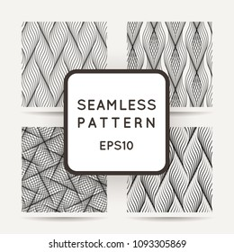 Collection of abstract wave stylish textures. Endless modern halftone backgrounds. Vector seamless geometric patterns