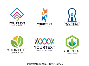 Collection of Abstracts logo. Set of vector symbol logos and icons for business or organisation. Abstract and colorful - Vector logo template