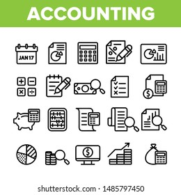 Collection Accounting Elements Vector Icons Set Thin Line. Magnifier With Money Bank Note And Report Or Register List, Coin On Monitor Accounting Linear Pictograms. Monochrome Contour Illustrations
