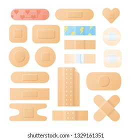 Collection of adhesive bandages, plasters or patches isolated on white background. Bundle of medical dressings of various types for wounds and injuries. Modern vector illustration in flat style.