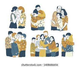 Collection of adorable smiling people standing together and hugging, cuddling and embracing each other. Acceptance, love, support among friends or family members. Flat cartoon vector illustration.