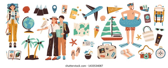 Collection of adventure tourism, travel abroad, summer vacation trip, hiking and backpacking decorative design elements isolated on white background. Flat cartoon colorful vector illustration. - Shutterstock ID 1433534087