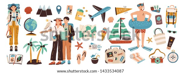 Collection of adventure tourism, travel abroad, summer vacation trip, hiking and backpacking decorative design elements isolated on white background. Flat cartoon colorful vector illustration.