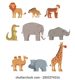 Collection of African Animal, Hippopotamus, Lion, Rhino, Elephant, Crocodile, Wild Predator and Herbivore Jungle Savannah Animals Cartoon Vector Illustration