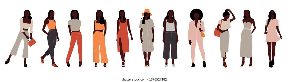 Collection of afro stylish women dressed in trendy clothes. Set of fashionable casual and formal outfits. Flat cartoon colorful vector illustration.