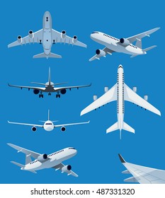 Collection of airplane illustrations from side, top, front and back view