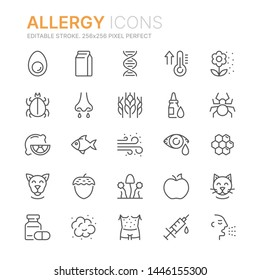 Collection of allergy related line icons. 256x256 Pixel Perfect. Editable stroke
