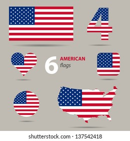 Collection of American flags in different shapes in vector