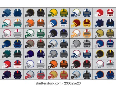 Collection of American football helmets. Vector illustration.