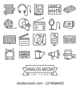 Collection of analog media and equipment vector line icons. Obsolescent technology symbols.