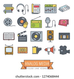 Collection of analog media and equipment vector filled line icons. Obsolescent technology symbols.