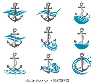 Collection of anchor symbol with sea waves. Vector illustration