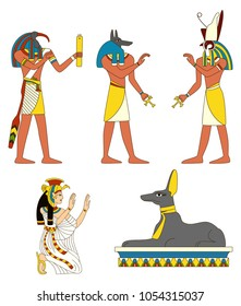 Collection of ancient Egyptian gods images, Thoth, Horus, Isis, Anubis, Anubis in the form of a jackal. EPS8