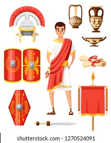 Collection of ancient roman icons. Flat vector style. Roman clothes, armor, weapon and houseware. Cartoon character design. Illustration isolated on white background.