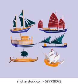 Collection of ancient ship vector