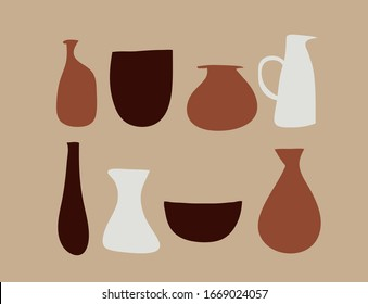 Collection of ancient vases and jugs. Modern vector illustration