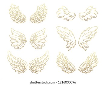 Collection of angel wings, wide open with golden metallic effect. Contour drawing in modern flat line style. Vector illustration, isolated on white.