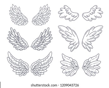 Collection of angel wings, wide spread. Contour drawing in modern line style. Vector illustration isolated on white.