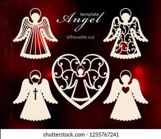 Collection of angels. Laser cut design for Christmas, Valentine's day, wedding. A set of templates silhouette cut elements to create a festive decor. Vector illustration.