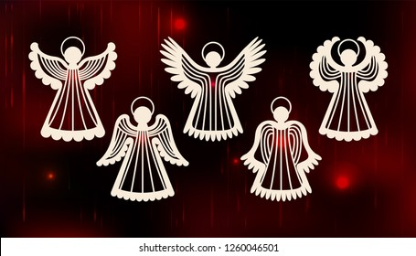 Collection of angels. Laser cut design for Christmas, Valentine's day, Easter, wedding. A set of templates silhouette cut elements to create a festive decor. Vector illustration.