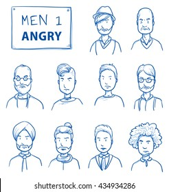 Collection of angry men. Set of various dissatisfied, enraged men in business and casual clothes, mixed age expressing unhappy, negative emotions. Hand drawn line art cartoon vector illustration.