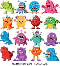 Sammlung wütender Monster-Zeichenillustrationen
