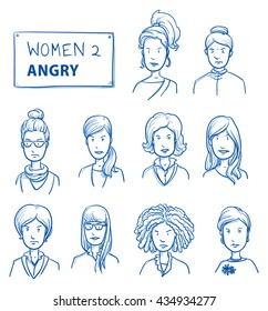 Collection of angry women. Set of various dissatisfied, enraged women in business and casual clothes, mixed age expressing unhappy, negative emotions. Hand drawn line art cartoon vector illustration.
