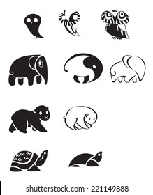 Collection of animal emblems / Collection of stylized emblems animals - vector black and white drawings.