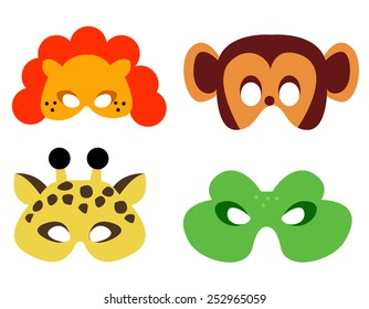 Collection of animal masks with animal faces. Ready to print and wear