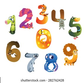 Collection of animal numbers for children. Vector illustration