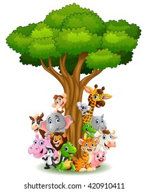 Collection animal stand around tree