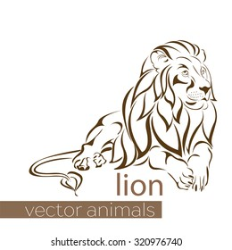Collection of animal vector . Lion.