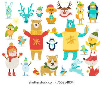 Collection of animals and snowmen, all of them are dressed in sweaters and warm knitted hats, bear stands with cake and present on vector illustration