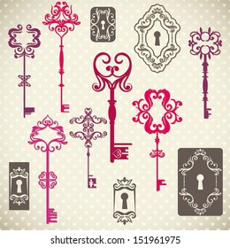 Collection of Antique Keys vintage style, vector