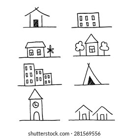 Collection of apartments. Sketch vector set of houses in doodle style