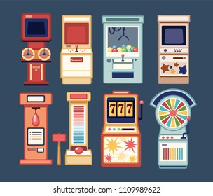 Collection of arcade video games, coin-ops and casino gambling slot machines isolated on grey background. Bundle of devices for entertainment. Colorful vector illustration in flat cartoon style