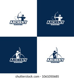 Collection of Archer Logo Designs concept, Archery Silhouette Logo designs vector, Archer Sport logo