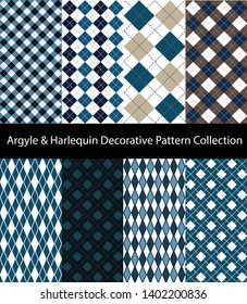 Collection of Argyle / Harlequin / Rhombus patterns. Decorative blue seamless backgrounds.