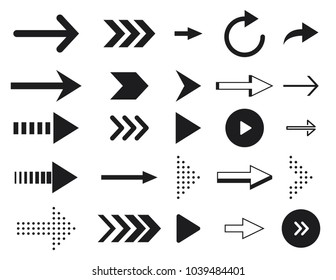Collection arrow silhouette on white background