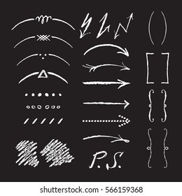 Collection of arrows, braces, vignettes, brackets and  other vector elements. Hand sketched shapes for branding design.Imitation of white chalk on a black board.