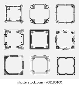 Collection of Art Deco borders and frames in style of 1920s. Templates for your design. Vector illustration