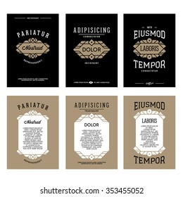 collection art deco monochrome luxury gold hipster   vintage vector flyer or poster with frame border label  for your club bar cafe restaurant hotel boutique