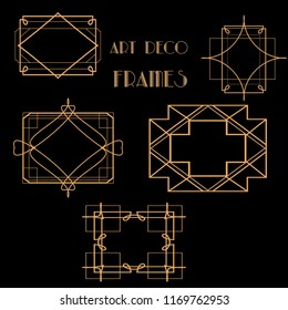 Collection of Art deco vintage frames, borders. 1920's style. Retro party concept.