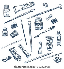 Collection of art supplies for watercolor and oil painting, drawing, pastels isolated on white background. Top view elements. Side view elements. Oils hand drawn set.