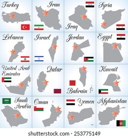 Collection of Asian countries (Middle East and Persian Gulf countries). Sixteen separate illustrations (icons). Easy to edit.