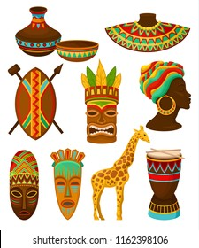 Collection of authentic symbols of Africa, crockery, weapon, mask, drum with traditional ethnic ornament vector Illustrations on a white background