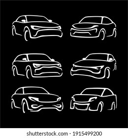 Collection of Automotive car logo design with concept sports vehicle icon  silhouette on black background. Vector illustration.