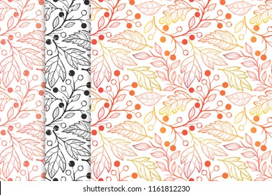 Collection of autumn patterns with  leaves,berries and floral elements in fall colors.Seamless patterns perfect for prints, flyers,postcards,fabric,wrapping paper and more.Vector autumn backgrounds.