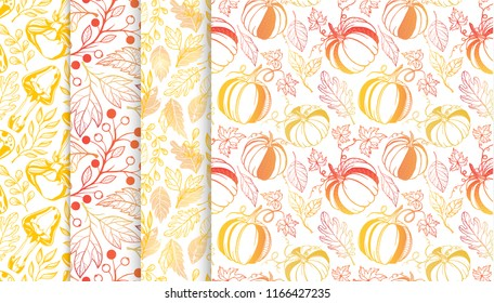 Collection of autumn patterns with leaves,berries,pumpkins,mushrooms in fall colors.Seamless patterns perfect for prints, flyers,postcards,fabric,wrapping paper and more.Vector autumn backgrounds.a