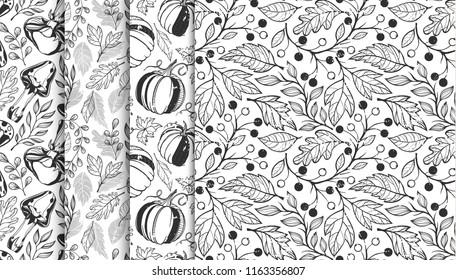 Collection of autumn patterns with leaves,berriess,pumpkins,mushrooms in black and white.Seamless patterns perfect for prints,flyers,postcards,fabric,wrapping paper and more.Vector autumn backgrounds.